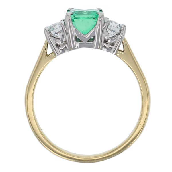 18ct yellow gold, platinum round brilliant cut diamond & octagon cut emerald trilogy ring designer three stone dress ring handmade by Faller, hand crafted, precious jewellery, jewelry, ladies , woman