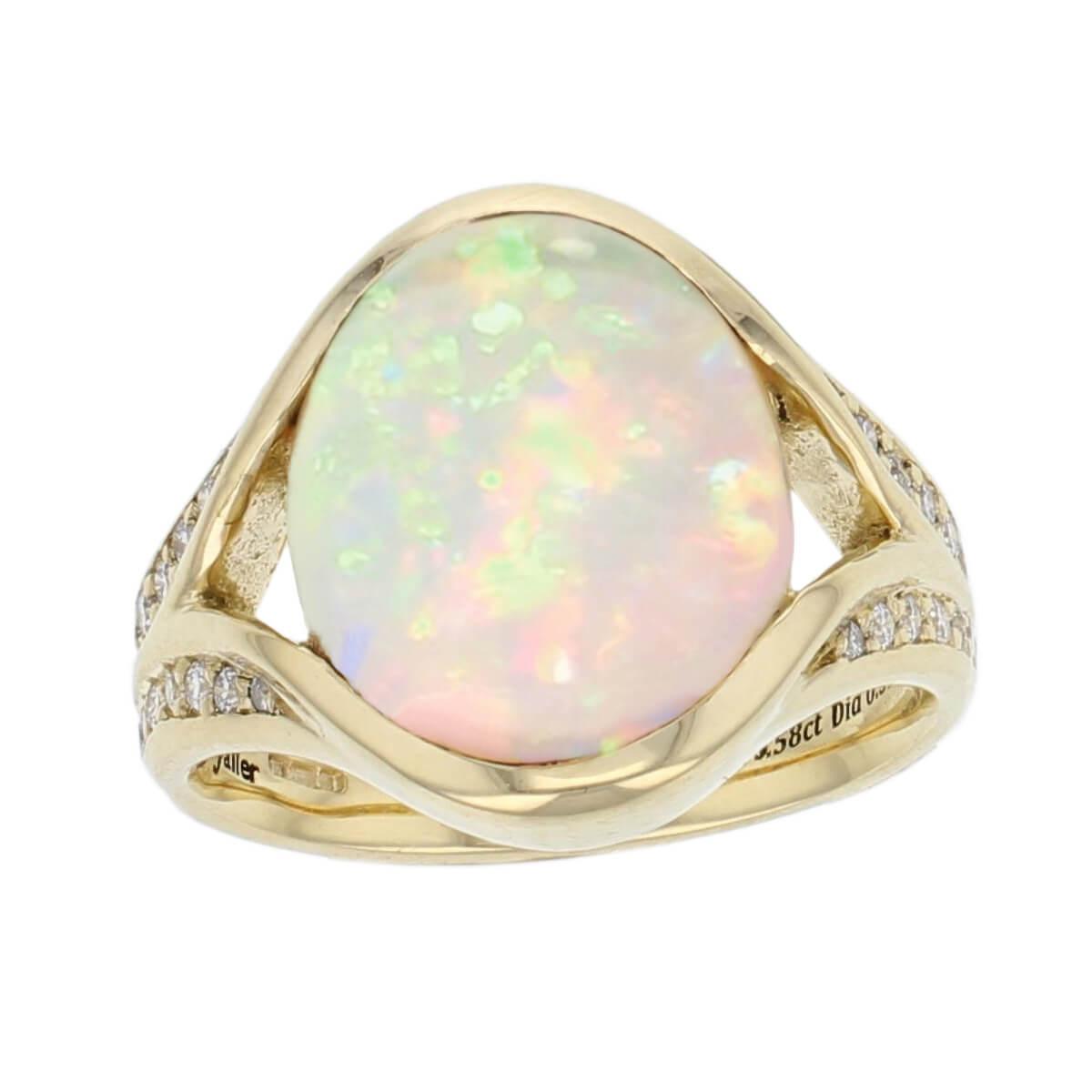 opal diamond ring, 18ct yellow gold oval cut cabochon opal gemstone & diamond multistone dress ring, designer jewellery, gem, jewelry, handmade by Faller, Derry, Londonderry, Northern Ireland, Irish hand crafted, shoulder set