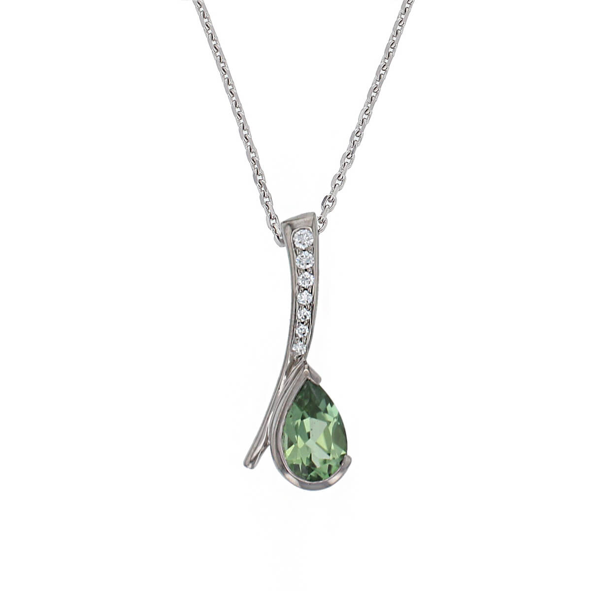 Faller pear cut mint green tourmaline gemstone & diamond 18ct white gold ladies pendant with chain, 18kt, designer, handmade by Faller, Derry/ Londonderry, hand crafted, precious tourmaline gem jewellery, jewelry