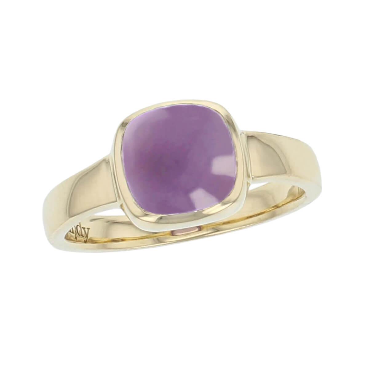 18ct yellow gold purple cushion cut cabochon amethyst gemstone dress ring, designer jewellery, quartz gem, jewelry, handmade by Faller, Londonderry, Northern Ireland, Irish hand crafted, Kandy
