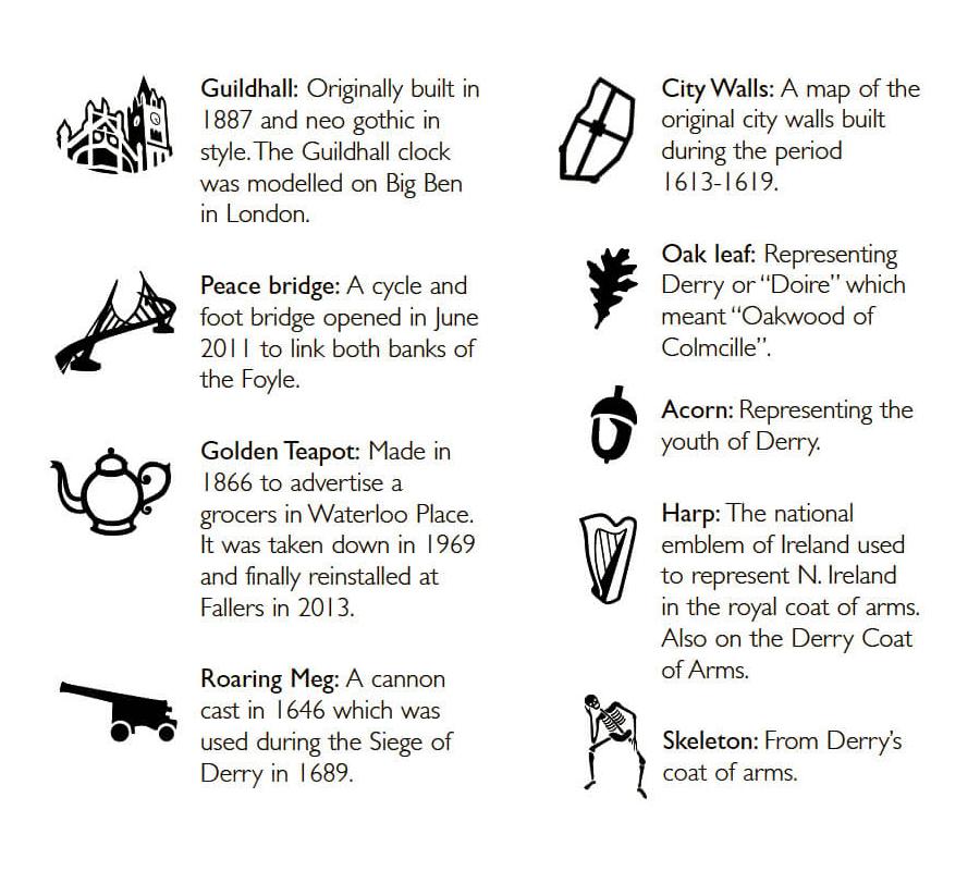 drop of derry icons explained, Guildhall, Peace Bridge, Golden Teapot, Roaring Meg Cannon, City walls, oak leaf, acorn, Harp, Skeleton, icons representing Derry
